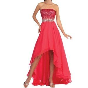Strapless Chiffon High-Low Prom Dress